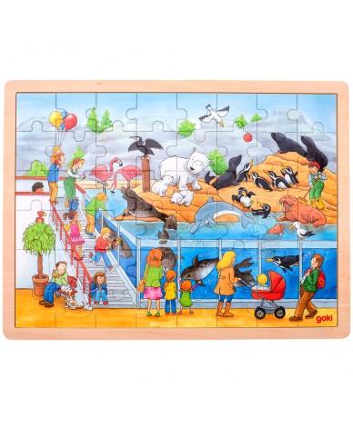 Puzzle en bois 48 pièces Une journée au Zoo
