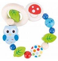 Hochet bébé Hibou et perles en bois