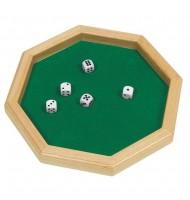 Piste de dés octogonale en bois 25,7 cm, 5 dés.
