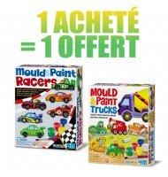 Lot de 2 Kit Moulage et Peinture Enfants Camions et Voitures