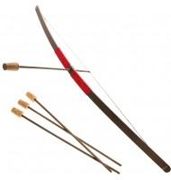 Arc d'enfant en bois - 3 flèches - Poignée velours rouge