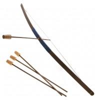 Arc d'enfant en bois - 3 flèches - Poignée velours Bleu foncé