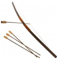 Arc d'enfant en bois - 3 flèches - Poignée velours marron