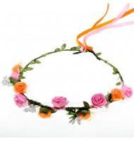 Couronne de fleurs roses et oranges- diadème de fleurs médiéval