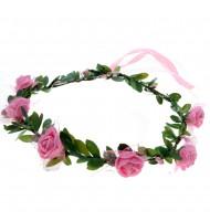Couronne de fleurs roses - déguisement dame médiévale