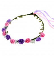 Couronne de fleurs roses et violettes - diadème de fleurs médiéval