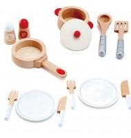 Dînette en bois Set complet ustensiles cuisine Hape