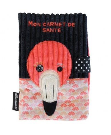 Protège carnet de santé Déglingos Flamingos le flamant rose