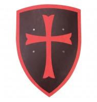 Bouclier en bois Templier noir et rouge