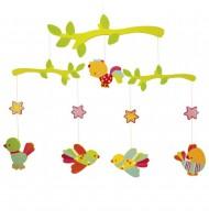 Mobile en bois pour bébé décoration chambre enfant Oiseaux