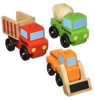 Camions de construction empilables jouet en bois