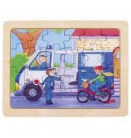 Petit Puzzle des véhicules - 24 pièces - Puzzle en bois Police