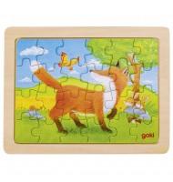 Petit Puzzle amitié des animaux - 24 pièces - Puzzle en bois Renard