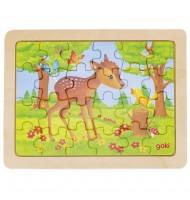 Petit Puzzle amitié des animaux - 24 pièces - Puzzle en bois Faon