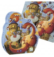 Puzzle Djeco silhouette Vaillant et le Dragon  54 pieces 5 ans +