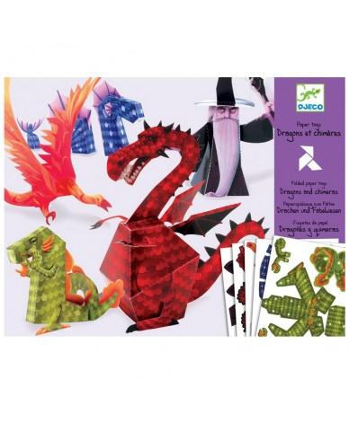 Pliage collage papier Dragons et chimères Djeco
