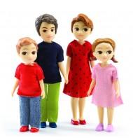 Famille de 4 poupées articulées Figurines pour maison de poupées