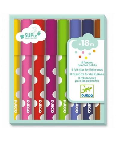 Feutres de couleurs Djeco 8 feutres pour petits 18 mois