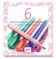 Feutres de couleurs Paillettes Djeco 6 marqueurs pailletés
