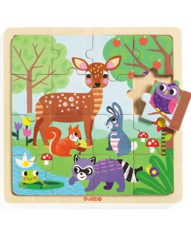 Puzzle en bois Djeco la forêt 16 pcs Enfants 3 ans +
