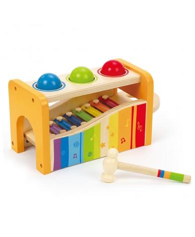Jouet musical Xylophone et toboggan de boules Hape 12 mois