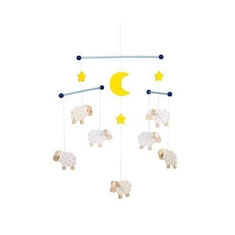 Mobile Suspension Moutons Jouet d'éveil en Bois Décoration Bébé