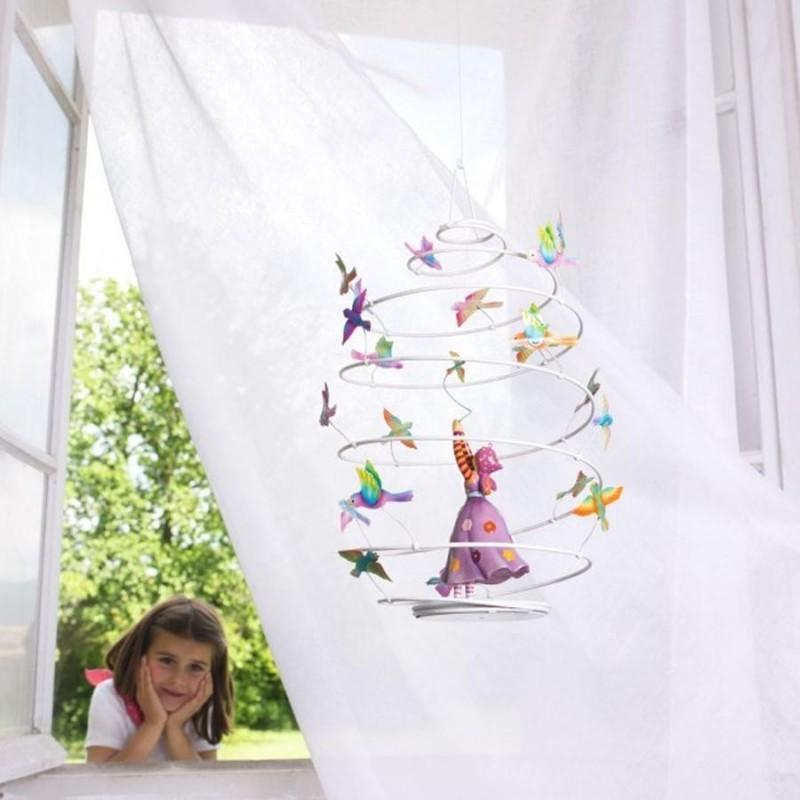 mobile pour enfant spirale fille aux oiseaux l 39 oiseau bateau. Black Bedroom Furniture Sets. Home Design Ideas